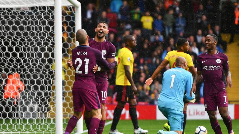 Sergio Aguero scored a hat-trick in Manchester City's win at Watford