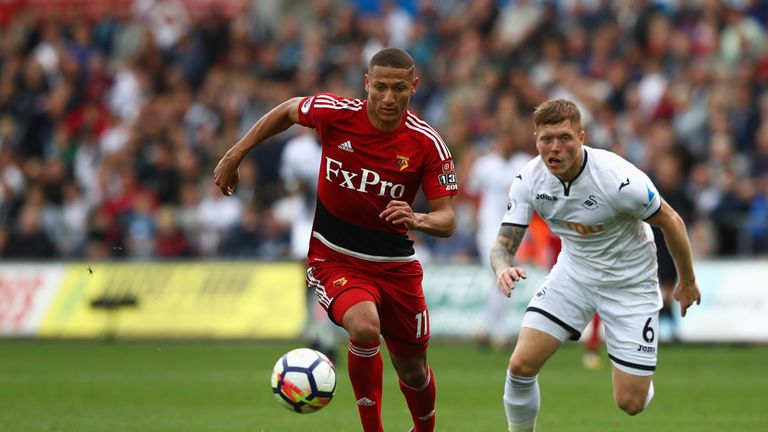 Richarlison evaded the challenge of Alfie Mawson to fire home the winning goal against Swansea