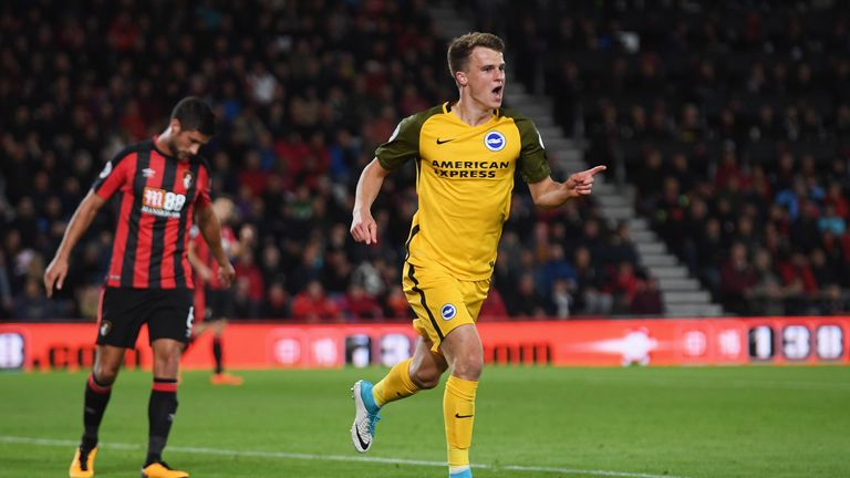 Solly March celebrates his goal