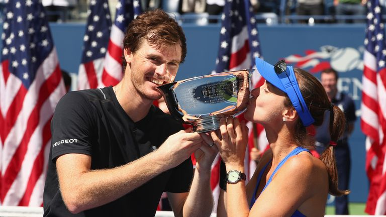 Jamie Murray (left) and Martina Hingis collected a second successive Grand Slam title