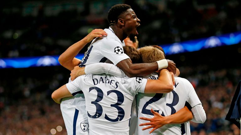 Tottenham players celebrate during the 3-1 victory over Dortmund