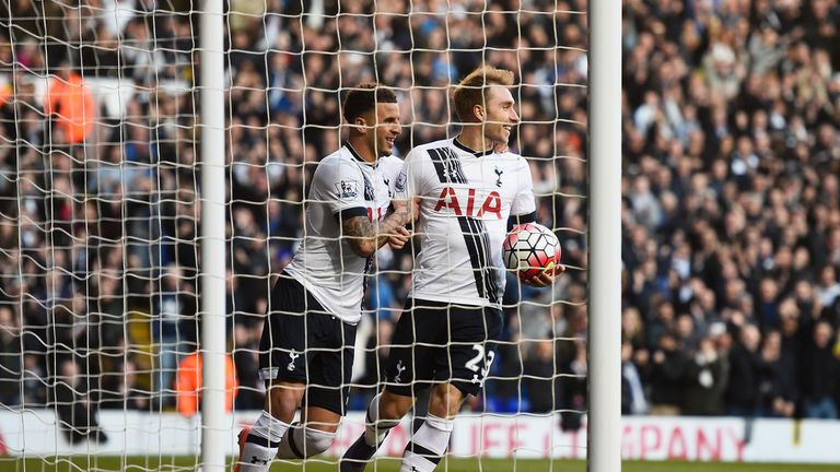 Eriksen (right) made 448 passing combinations with Kyle Walker last season