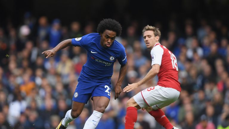 Willian attempts to get past Nacho Monreal
