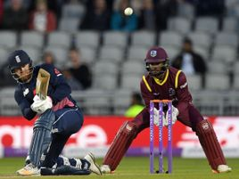 Jonny Bairstow plays a sweep during his fine innings