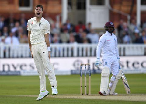 James Anderson of England celebrates dismissing Jermaine Blackwood
