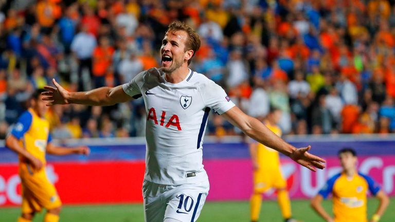 Tottenham Hotspur's English striker Harry Kane celebrates after scoring during the UEFA Champions League football match against Apoel FC in September 2017