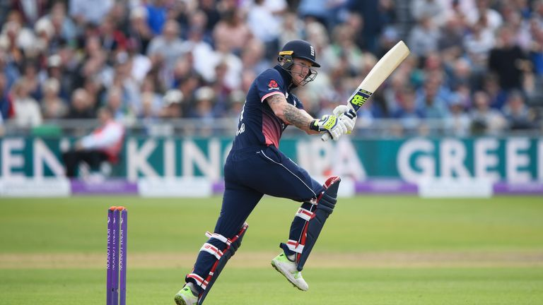 Ben Stokes of England hits out during the 3rd Royal London One Day International match between England and the West Indies