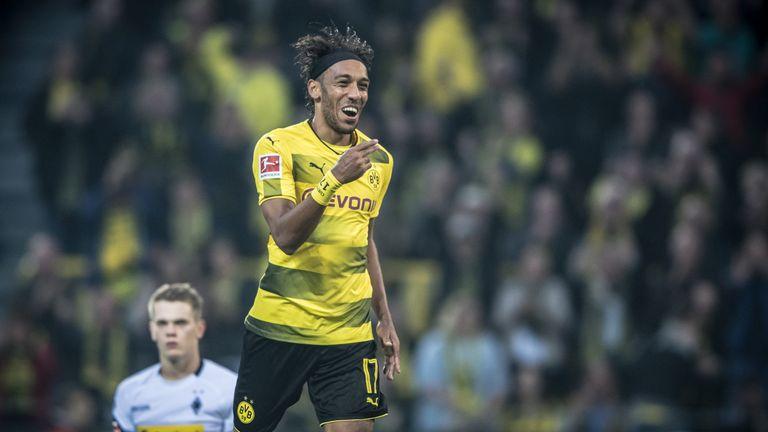 DORTMUND, GERMANY - SEPTEMBER 23: Pierre-Emerick Aubameyang of Dortmund celebrates a goal during the Bundesliga match between Borussia Dortmund and Borussi