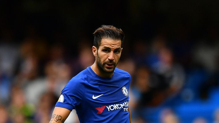 Cesc Fabregas of Chelsea controls the ball during the Premier League match between Chelsea and Burnley at Stamford Bridge