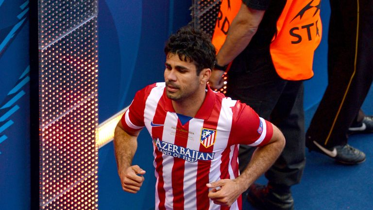 Diego Costa of Club Atletico de Madrid makes his way down the tunnel after going off injured during the UEFA Champions League Final