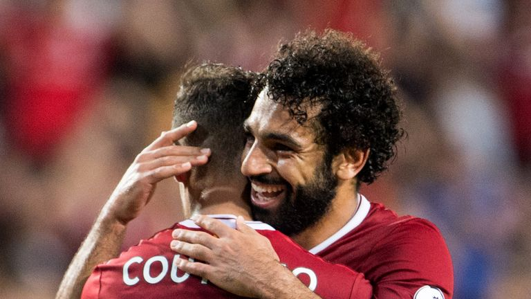 Philippe Coutinho (left) could start alongside Mo Salah for Liverpool on Tuesday