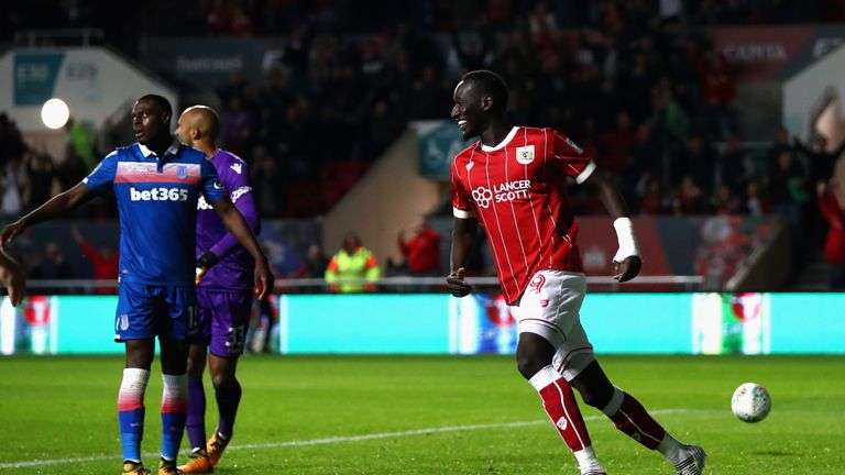 BRISTOL, ENGLAND - SEPTEMBER 19:  Famara Diedhiou of Bristol City celebrates scoring his sides first goal during the Carabao Cup Third Round match between