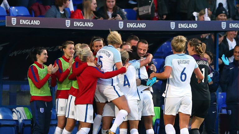 England players celebrate with manager Mark Sampson following Nikita Parris' goal against Russia