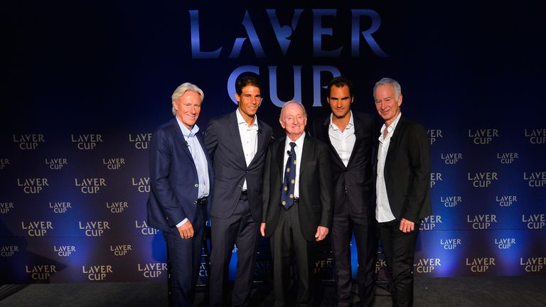 (Left to Right): Bjorn Borg, Rafael Nadal, Rod Laver, Roger Federer and John McEnroe pose for a photo during a Laver Cup announcement