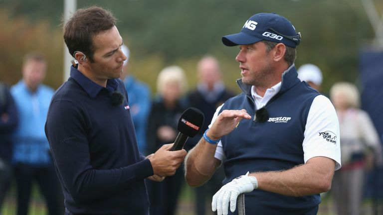 WOBURN, ENGLAND - OCTOBER 08:  Nick Dougherty  and Lee Westwood of England chat together during a Live Sky Sports Masterclass following the first round of