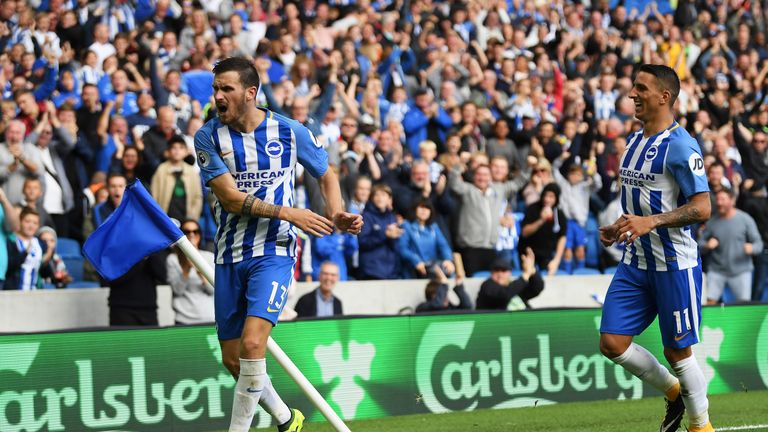 Pascal Gross celebrates scoring his and Brighton's second goal