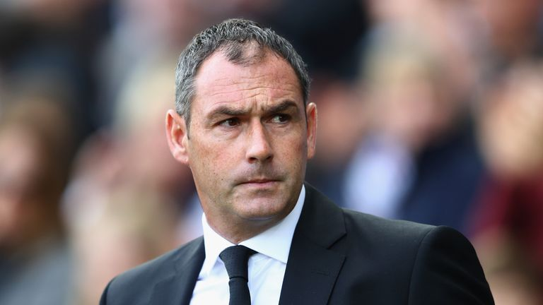 SWANSEA, WALES - SEPTEMBER 23:  Paul Clement, Manager of Swansea City looks on prior to the Premier League match between Swansea City and Watford at Libert