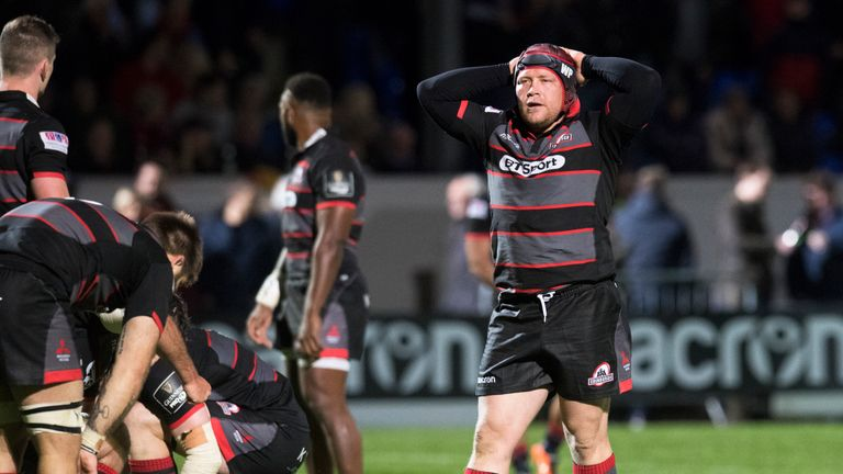 Edinburgh's WP Nel is dejected after their loss to Treviso
