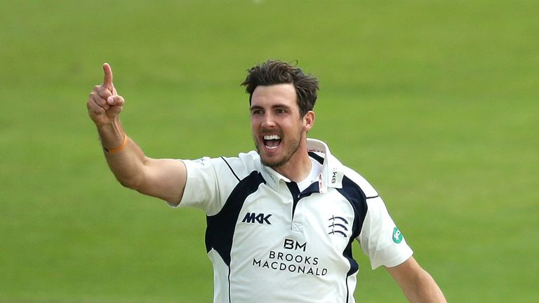 SCARBOROUGH, ENGLAND - JULY 06:  Steven Finn of Middlesex celebrates the dismissal of Gary Ballance of Yorkshire during day four of the Specsavers County C