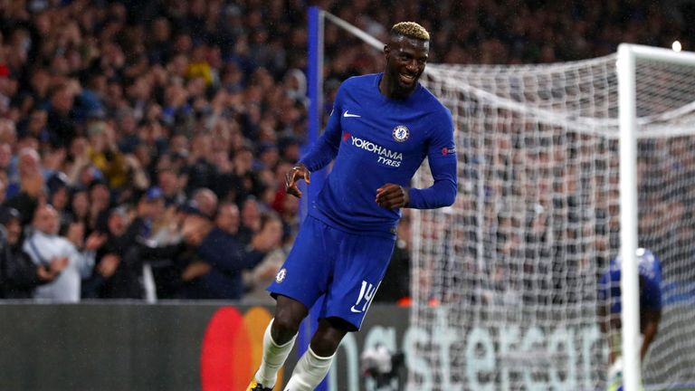 Tiemoue Bakayoko of Chelsea celebrates scoring his sides fourth goal during the UEFA Champions League Group C match against Qarabag on September 12