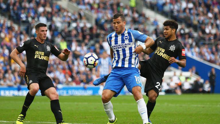 Tomer Hemed (L) was Brighton's match-winner against Newcastle