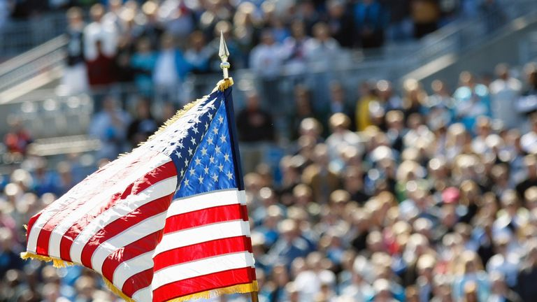 A view of the American Flag raised for the National Anthem