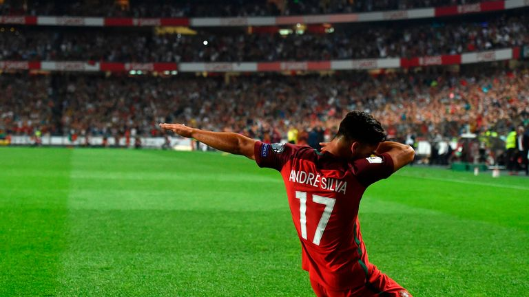 Andre Silva reacts after putting Portugal 2-0 up against Switzerland