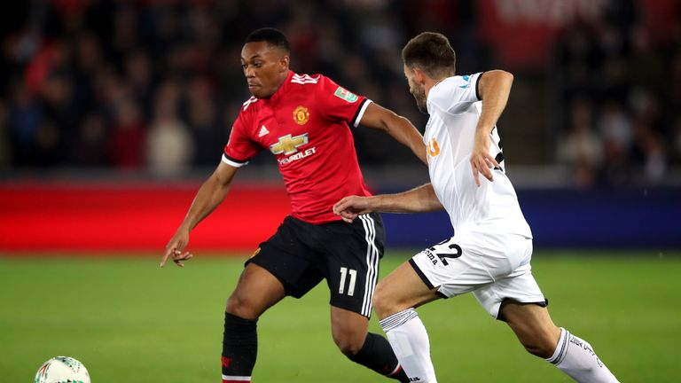 Angel Rangel's last appearance for Swansea came in the Carabao Cup against Manchester United