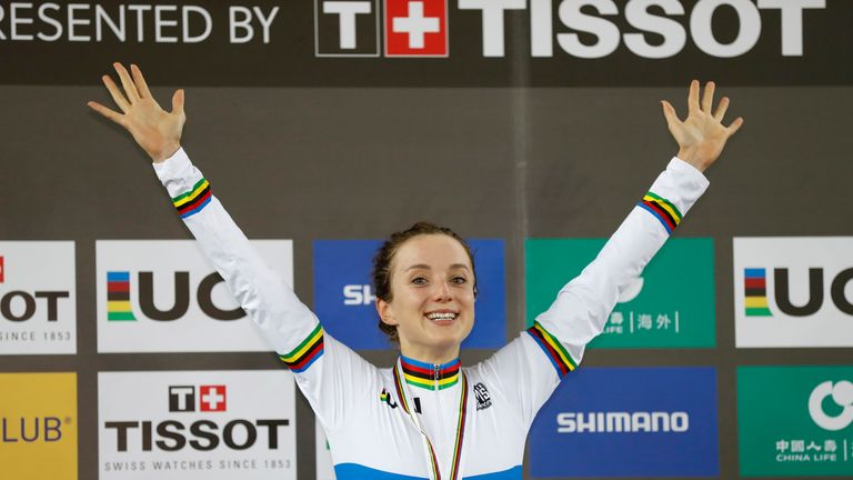 Elinor Barker claimed gold in the Women's Point race at the 2017 UCI Track Cycling World Championships