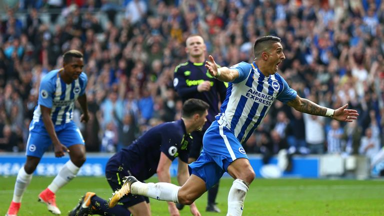 Anthony Knockaert celebrates after scoring for Brighton against Everton