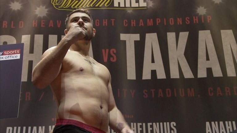 Allen displayed his slimmer physique at Friday's weigh-in