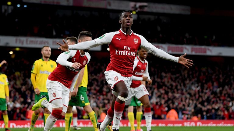 Nketiah scored 15 seconds after coming on as a substitute