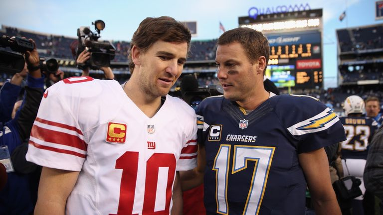 Eli Manning (L) and Philip Rivers (R) were selected with the No 1 and No 2 picks of the 2004 Draft