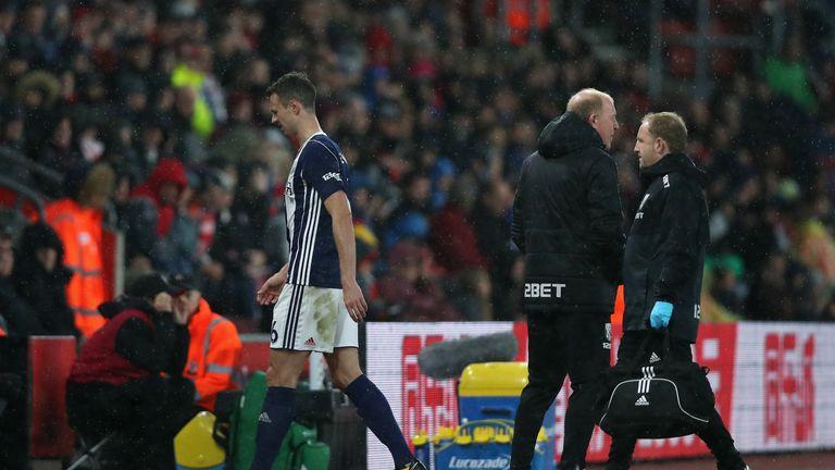 West Brom lost Jonny Evans to injury