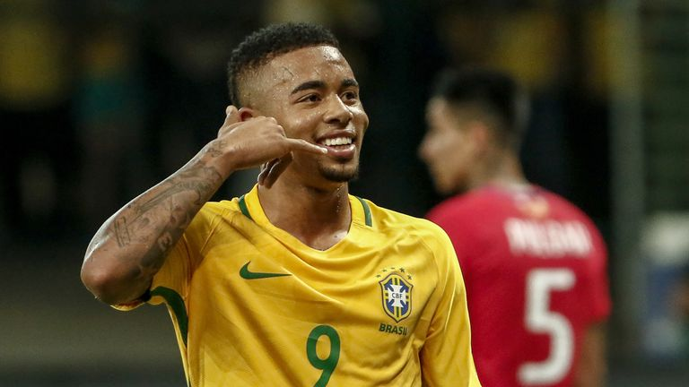 Brazil's Gabriel Jesus celebrates after scoring against Chile