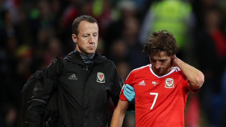 Wales' Joe Allen walks off at the Cardiff City Stadium on Monday night