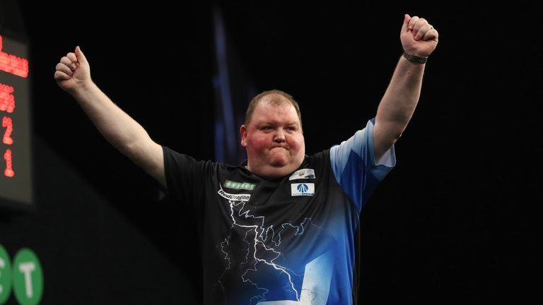 John Henderson added the name of five-time world champion Raymond van Barneveld to the list of those he has beaten in Dublin