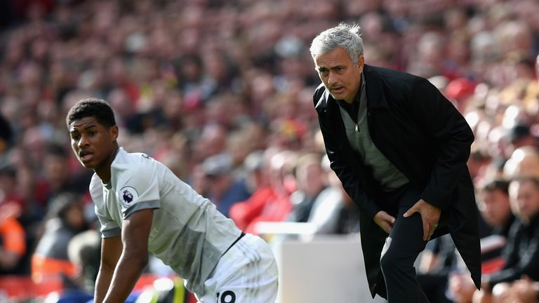 Jose Mourinho looks on as Marcus Rashford reacts after coming on as a sub against Liverpool