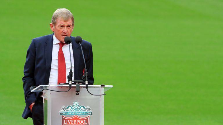 Kenny Dalglish speaks during opening event for the stand named in his honour at Anfield