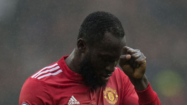 Romelu Lukaku reacts after missing a chance against Spurs