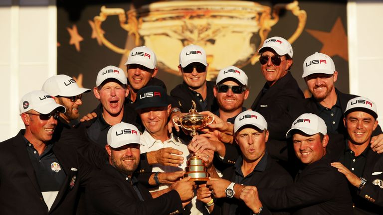 Team USA celebrate winning the 2016 Ryder Cup at Hazeltine  - Europe will look to exact revenge in Paris in 2018