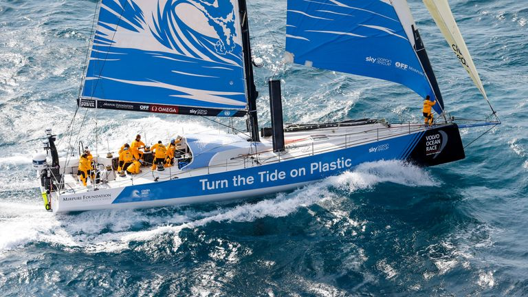 Turn the Tide on Plastic are one of seven teams competing in the Volvo Ocean Race. Photo by Ainhoa Sanchez / Volvo Ocean Race