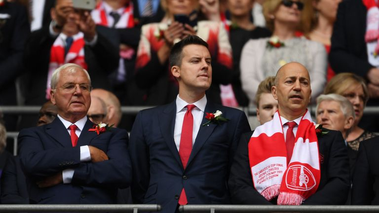 Arsenal's Supporters' Trust will vote against re-appointment of Sir Chips Keswick (left) and Josh Kroenke (right)