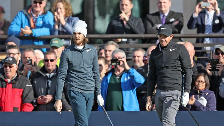 Tommy Fleetwood broke the course record as Rory McIlroy struggled at Carnoustie