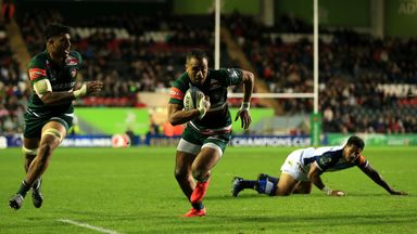Telusa Veainu scores one of his three tries for Leicester