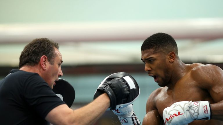 SHEFFIELD, ENGLAND - OCTOBER 17: Anthony Joshua works out with his trainer Rob McCracken  during a media workout at the English Institute of Sport on Octob