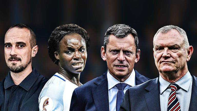 Graphic of Mark Sampson, Eni Aluko, Martin Glenn and Greg Clarke