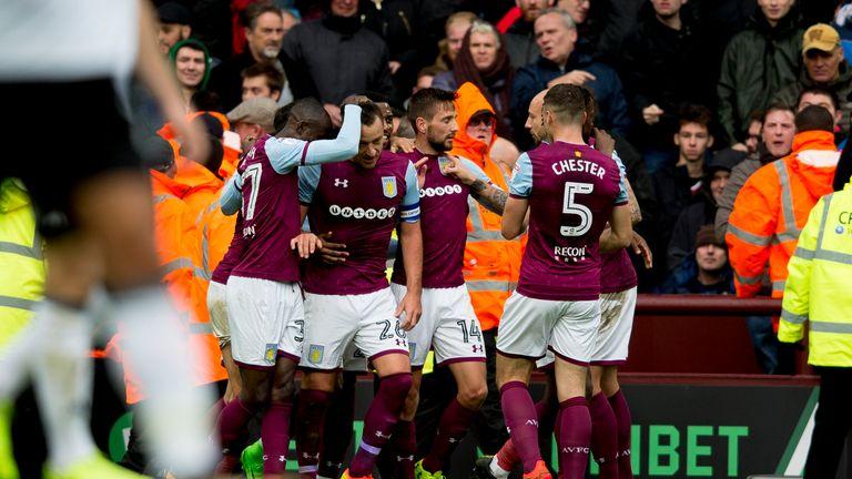 John Terry celebrates his first goal for Aston Villa