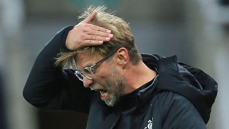 Jurgen Klopp reacts with frustration during the Premier League match at St James' Park