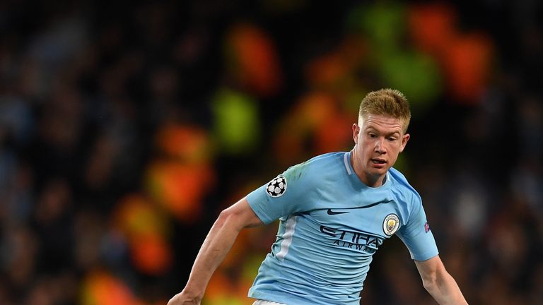 Kevin De Bruyne of Manchester City in action during the UEFA Champions League group F match between Manchester City and Napoli
